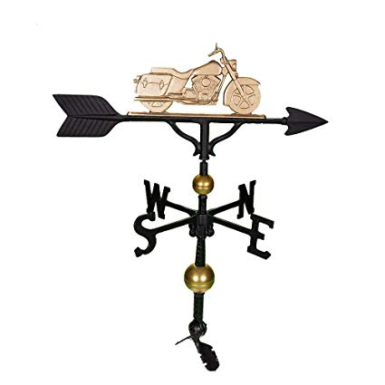 Montague Metal Products 32-Inch Deluxe Weathervane with Gold Motorcycle Ornament