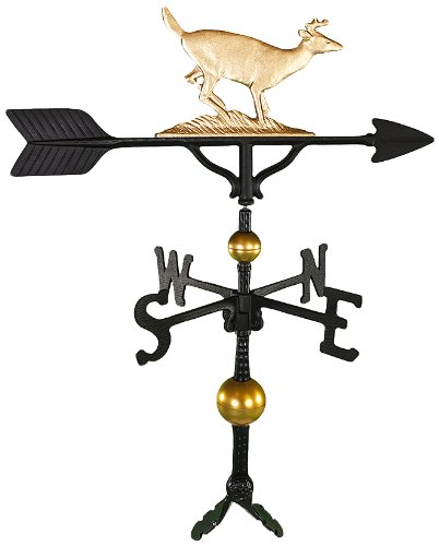Montague Metal Products 32-Inch Deluxe Weathervane with Gold Buck Ornament