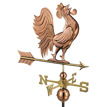 Good Directions Crowing Rooster Weathervane, Pure Copper