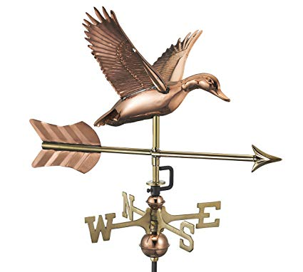 Good Directions Flying Duck with Arrow Cottage Weathervane - Pure Copper with Roof Mount
